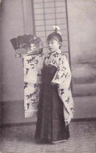 japan, KUMAMOTO, Young School Girl, 5th Koto-Gakko, Fan (1910s) Postcard