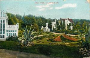 Krug Park St Joseph Mo Missouri pm 1910 Postcard