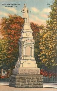 Bethlehem Pennsylvania~Civil War Soldiers Monument~Close Up~1940s Linen Postcard