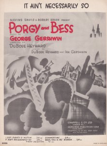 It Aint Necessarily So Porgy & Bess 1950s Sheet Music