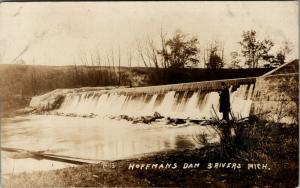 Three Rivers Michigan~Man At Edge of Hoffman's Dam~1908 Real Photo~RPPC