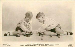 Beagles British Royalty Toy Train Soldiers UK 1930s RPPC Photo Postcard