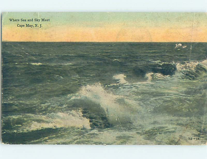 Divided-back WAVES OFF THE SHORE Cape May - Near Wildwood & Vineland NJ AD8196