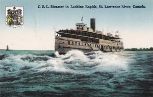 C.S.L. Steamer in Lachine Rapids, St Lawrence River , Canada ,00-10s