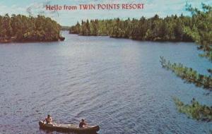 Night Canoe Canoeing In Minnesota Hello From Twin Points Resort USA Postcard