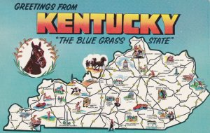 KENTUCKY State Outline And Map, 1960s