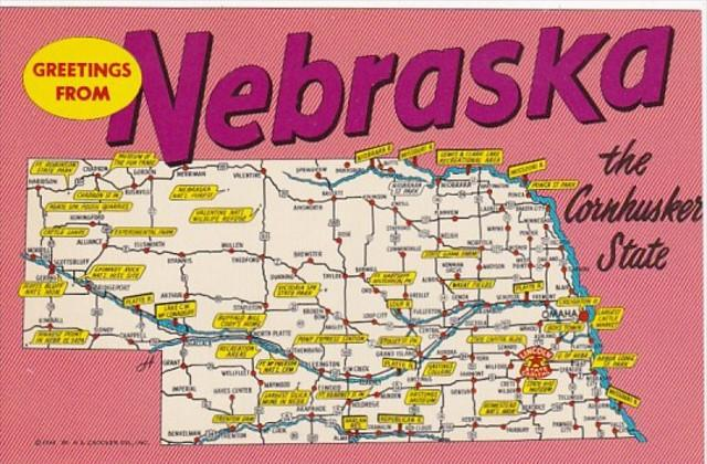Greetings From Nebraska With Map