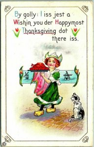 1916  THANKSGIVING Postcard Dutch Girl / Cooked Turkey / Kitty Cat STECHER 319E