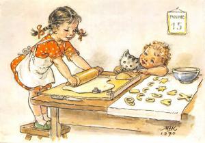 Fantasy young girl housewife Kresba M. Fischerova - Kvechova SG Velky Senov