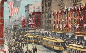 Streetcar Street Scene Crowd Syracuse New York 1911 postcard