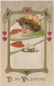 John Winsch 1900-10s VALENTINE ; Samuel Schmucker: Female Portrait #3 ; Silk