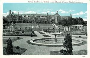 Elizabethtown PA~Formal Garden Fountain~Grand Lodge~Masonic Homes~1936 Postcard