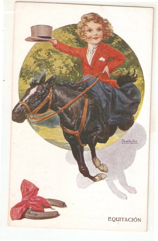 Chantecler. Girl riding horse. Equitacion Nice Spanish postcard 1930s