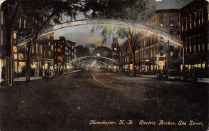 Manchester New Hampshire~Elm Street Electric Arches~Night Lights~Clock~1911 PC