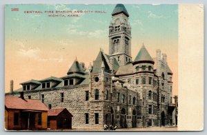 Wichita KS~City Hall, Central Fire Station Dwarf Log Cabin House~Firemen~1913