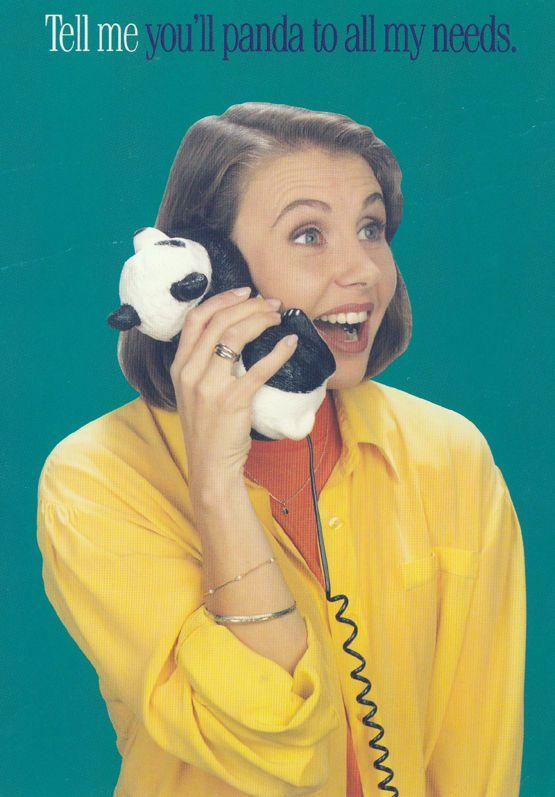 Panda To My Needs Telephone 1980s Cabeltel Advertising Postcard