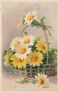 AS: SILK  Still Life, Basket of Daisies, PU-1911