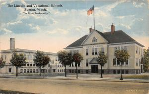 F35/ Everett Washington Postcard 1918 Lincoln and Vocational Schools