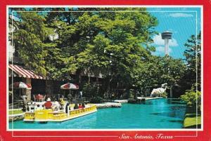 Texas San Antonio The San Antonio River With Tower Of The Americas Boat Ride