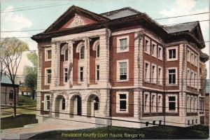 Bangor ME Penobscot County Court House w/ Glitter Tinsel Postcard E31