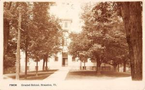 Brandon Vermont Graded School Exterior Real Photo Antique Postcard K15967