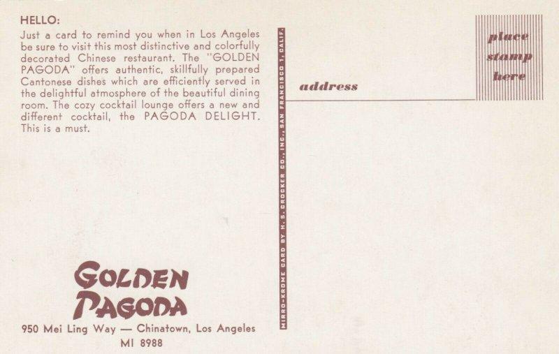 LOS ANGELES , Calf. , 50-60s ; Chinatown , Golden Pagoda Restaurant