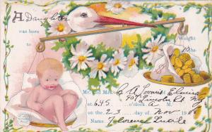 BIRTH ANNOUNCEMENT, PU-1908; Stork balancing baby and gold coins