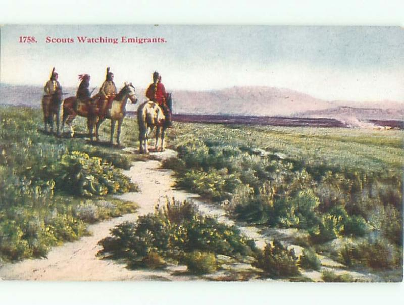 Pre-Linen NATIVE INDIAN SCOUTS ON HORSEBACK AC6509