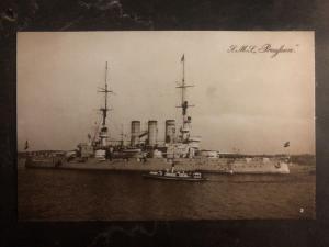 Mint Germany RPPC Postcard SMS Preussen Battleship Kaiserliche Marine WWI