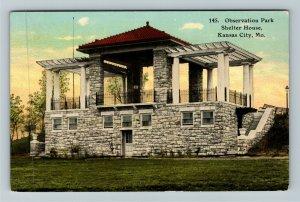 Kansas City MO-Missouri, Observation Park Shelter House Vintage c1912 Postcard