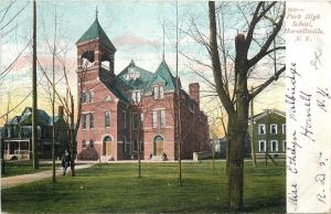 Hornellsville NY~Park High School~Belfry~Hose Next Door~Man Leans on Tree~1908
