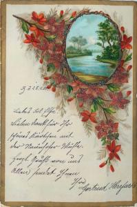 Old 1900 glass pearls applied chromo litho landscape flowers fantasy postcard
