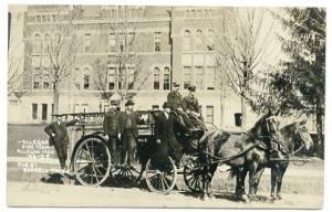 Allegan MI Firemen Horse Drawn Fire Wagon RPPC Real Photo Postcard
