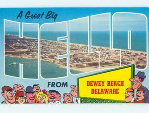Pre-1980 BIG LETTERS AND BEACH BEACH SCENE Dewey Beach Delaware DE M6517@