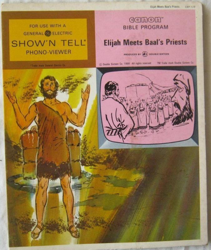 Vintage Elijah Meets Baals Priests Canon Bible Program For GE Show N Tell 1966