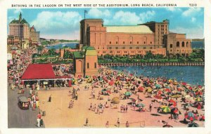 Postcard Bathing in the lagoon West Side of Auditorium Long Beach CA