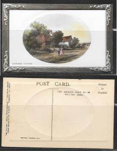 Roadside Cottage, Embossed English postcard