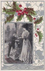 CHRISTMAS, PU-1908; A Merry Christmas, Woman Receiving A Gift