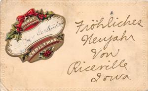 A64/ Riceville Iowa Ia Postcard Merry Christmas 1909 Greetings