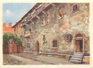 Italy Verona artist postcard R. Schmitzer Casa di Giulietta Juliet House