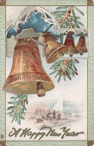 TUCK #139, A Happy New Year, Soli Deo gloria! on Bell, pine branch, sheppar...