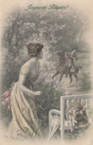 AS; M.M. VIENNE NO.480, M. MUNK;  1900-10s; Woman hiding from horse & rider