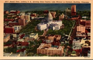 Wisconsin Madison Aerial View Looking Southeast Showing State Capitol Curteich