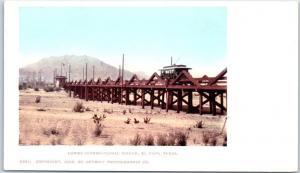 El Paso, Texas Postcard Lower International Bridge Trolley Detroit Pub. c1900s