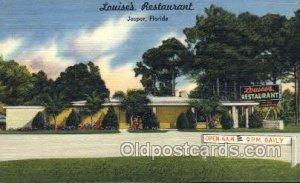 Jasper Florida USA Linen Louises Restaurant Unused