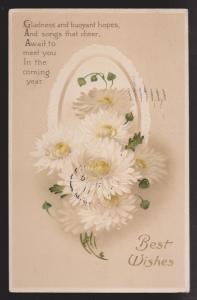 General Greetings - Best Wishes Flowers & Verse - Used - Embossed