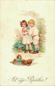 Kids with puppys Litho Vintage Postcard From Czech Republic 02.87