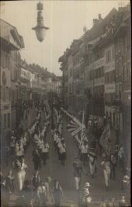 Liestal Switzerland Street Scene Parade c1910 RPPC Street Lamp in View