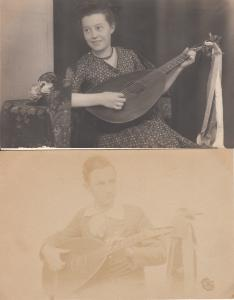 Early real photo postcards people mandolin music instruments