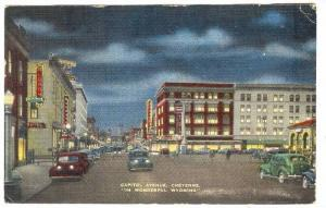 Capitol Avenue,night, Cheyenne, Wyoming , PU-1947